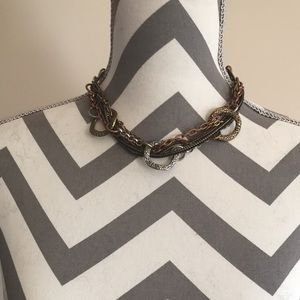 Edgy Multicolor Hammered Metal Necklace